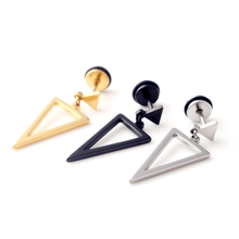 New Arrival Fake Ear Piercing Jewelry 16 Gauge Fashion Gold Plated Triangle Shaped Earrings