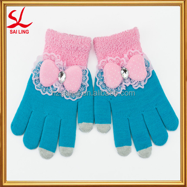 Small MOQ Women Bowknot Touch Sreen Gloves Telefingers Gloves