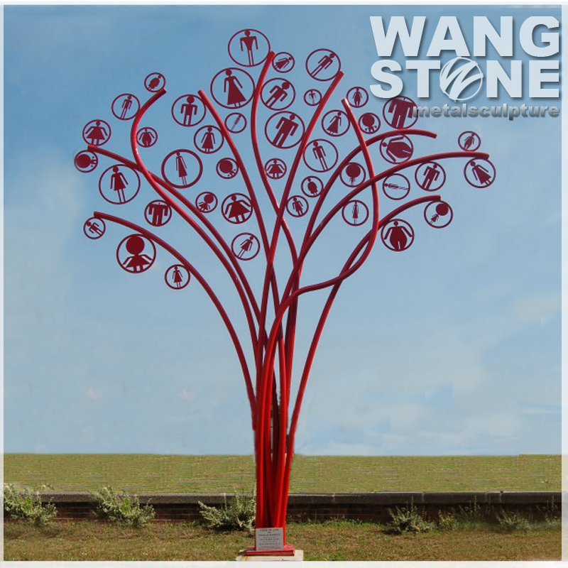 Man and Woman Outdoor Red Modern Metal Tree Sculpture For Decoration
