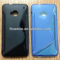 FL2322 2013 Guangzhou hot selling S line soft tpu back cover case for htc one m7