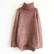 C72671A Ladies loose knitted sweater lady fashion high-neck sweater