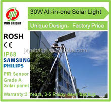 Factory price 30W All in one solar street light solar garden light solar yard light
