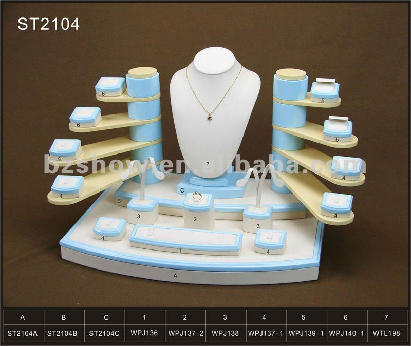 High quality leather portable leather jewelry display cases and stands