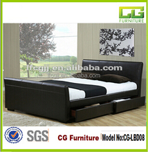 Upholstered Pu Leather Bed With Four Drawers On Both Sides