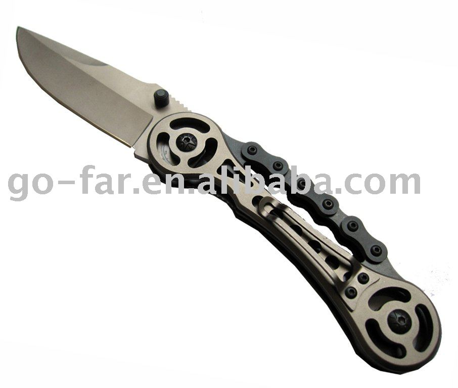 21Block chain handle combat knife