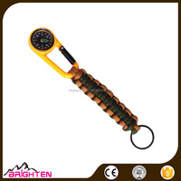 Factory direct sales Survival Bracelet Paracord Rope with Compass Keychain Key Ring