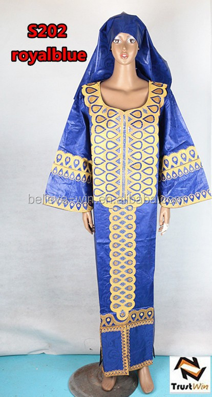 indian embroidered dresses cotton bazin clothes of S202 royalblue