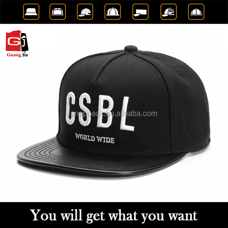 Wholesale Custom 3D Puff Embroidery Leather Flat Brim 5 Panel Cap Plain Black Adjust Snapback Hat/Caps