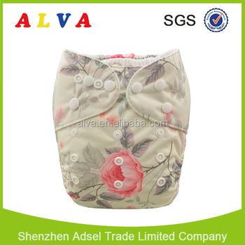 ALVA Baby Flowers Design Wholesale Cloth Diapers Baby Washable Diapers