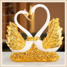 Factory Price Resin Golden Swan Statue/Polyresin Swan/Resin Swan Wedding Decoration