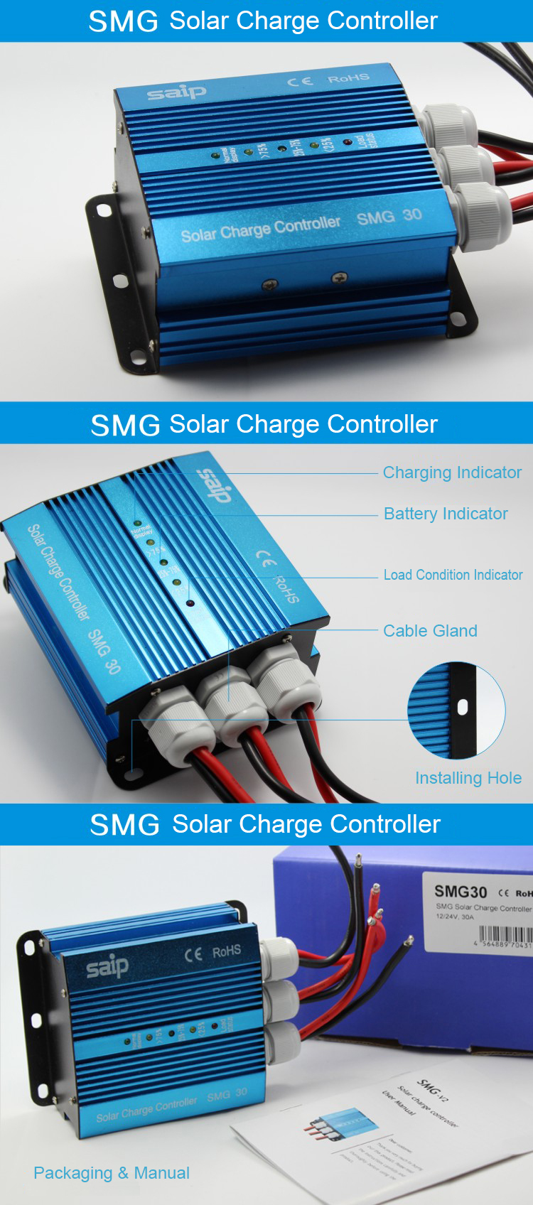 Mini 12v/24v Waterproof solar charge controller 30A 35A 40A 45A 50A 60A SMG