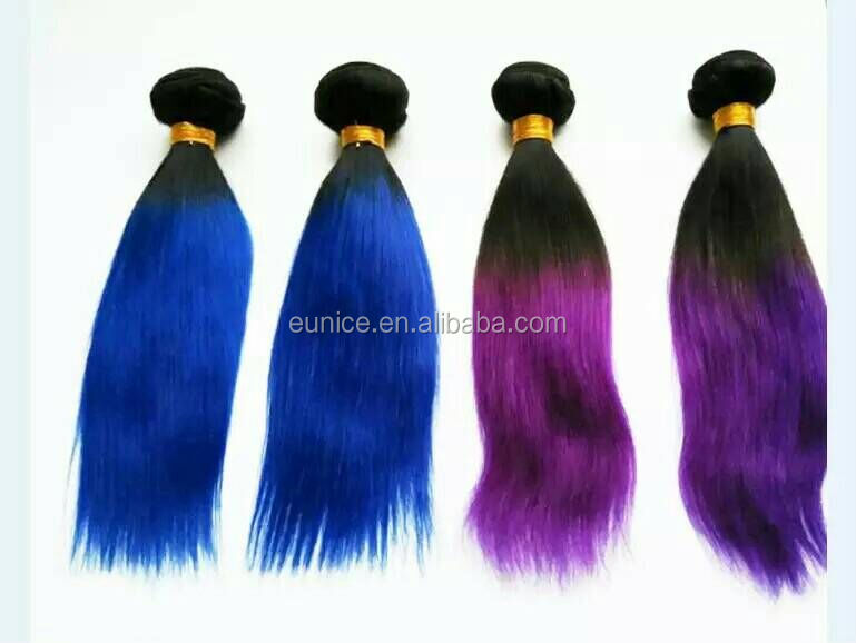 Brazilian Human Hair Weave Purple Remy Hair , Blue expression Extension Hair