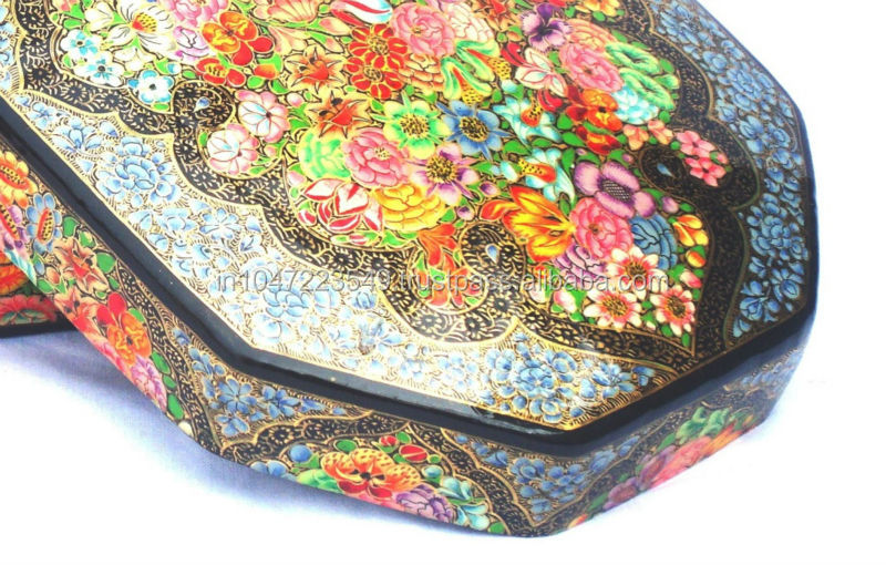 "Sleek Octagonal Box with Real Gold ink, having Best Quality of World Renowned Kashmiri Paper Mache' art. (6"" x 4"" x 2"" Approx."