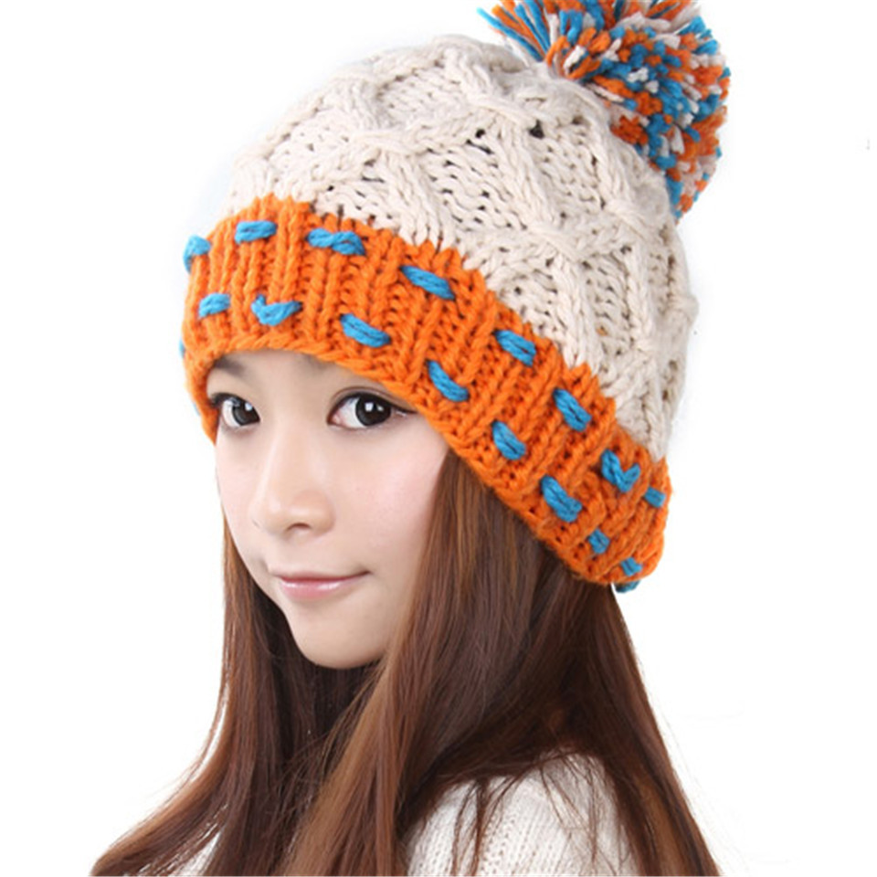 Get Quotations · Cute Winter Beanie Warm Classic Patchwork Tight Knitted Hat  Women Cap Beanie Headdress Head Warmer Ear cf5bcaa52