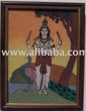 Murugan, Gem Stone Art Painting of Rajasthan India