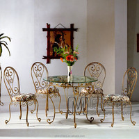 The classic european style metal dining table and chair/gold color metal chair