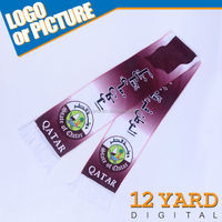 Qatar nation quality Islamic silk sublimation cross printed scarf