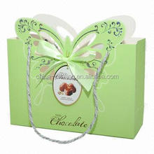Green butterfly die cut paper packing bag , funny gift paper bag , paper carry bag for kid