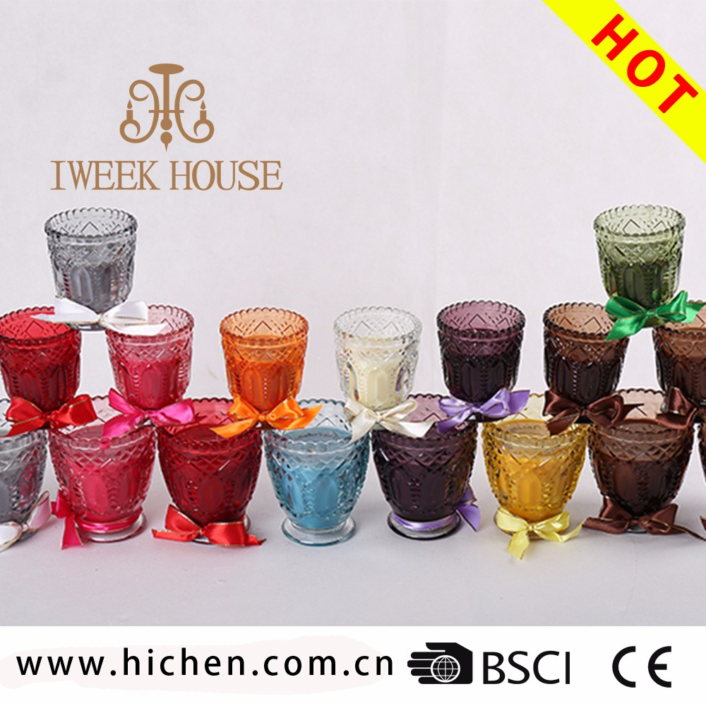 Home decorative air freshener scented natural soy candle in flower shaped glass candle holders