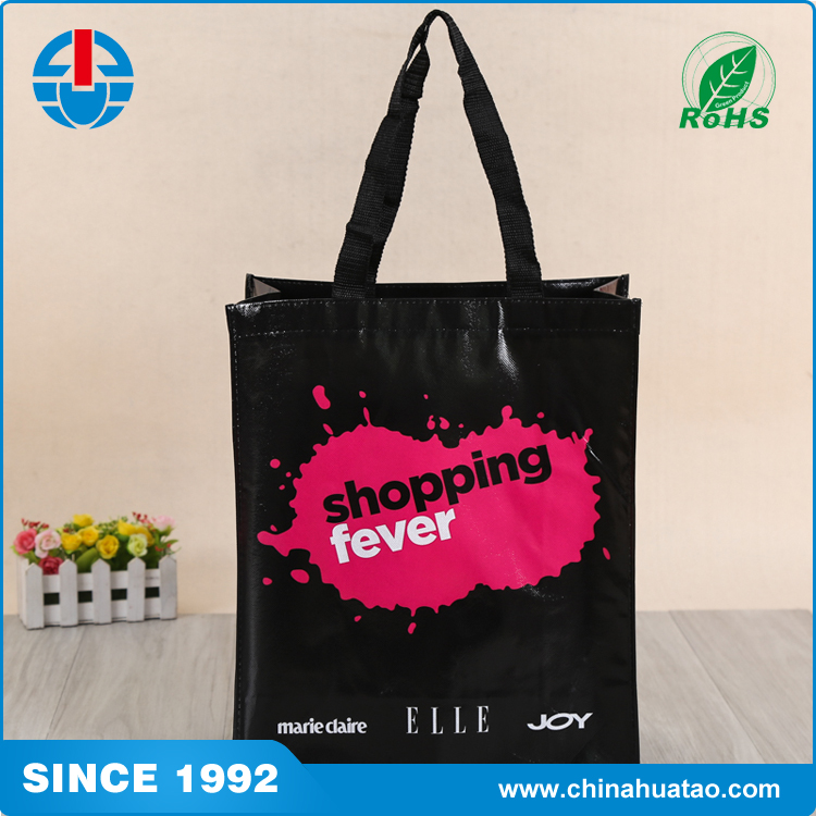 Fugang Triangle Printed Logo Colorful Custom Non Woven Lamination Shopping Bag