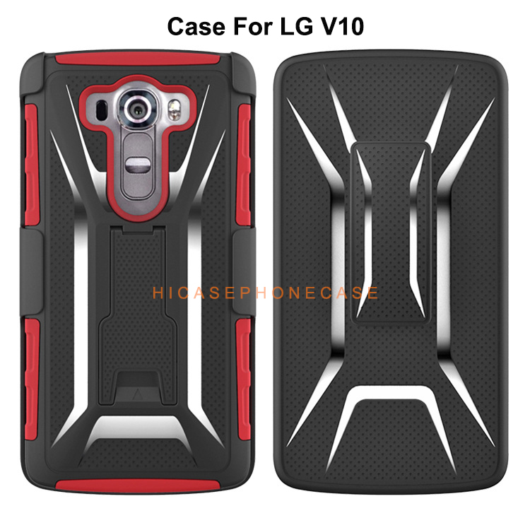 2018 Wholesale Covers For LG V10 Phone Back Cover Case Hybrid Silicone cellphone Shell With Belt Clip