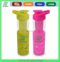 Customized glass water bottle with silicone sleeve
