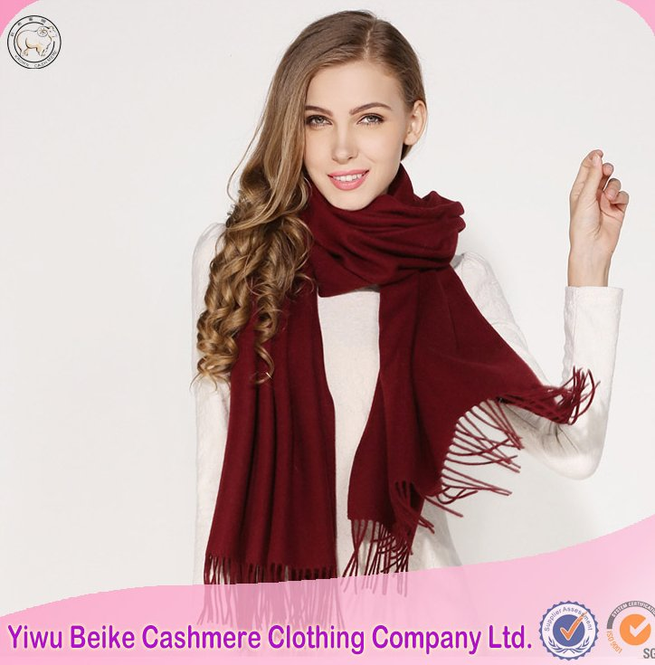 2016 new design solid color thick big tassel scarf for winter