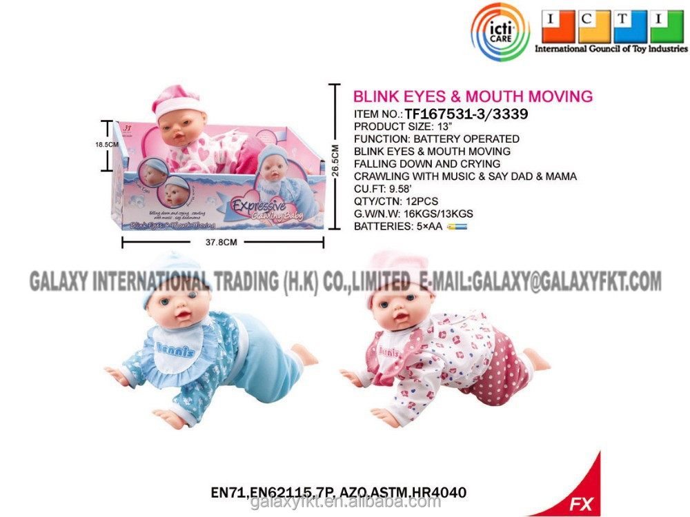 13 inch wholesale Lovely Singing and Crawling vinky Baby Doll Toys.