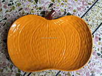 Ceramic pumpkin shape plate,orange service plater