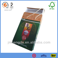 Ecofriendly colorful printed gift boxes for rice with rope rice packaging box