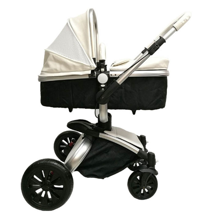 Luxury Aluminum PU Leather Baby Stroller For New Born Baby With EN1888