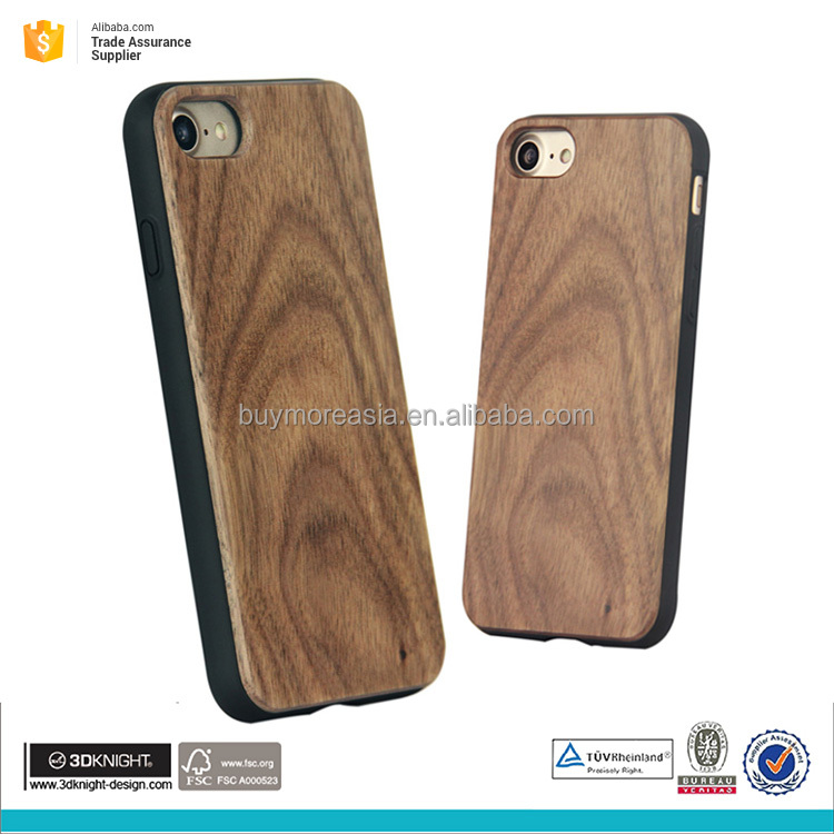 injection TPU PC wood mobile phone cover for iphone 7 7plus walnut wooden case