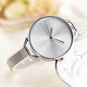 Women Quartz watch Mesh Belt Ladies Watch Gold Plated Big Thin Dial Dress Wrist Luxury Watch