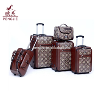 Business PU luggage trolley bags cases
