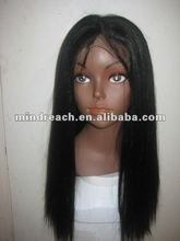"Hot selling 16"" yaki straight Chinese virgin human hair full lace wig,accept escrow payment"