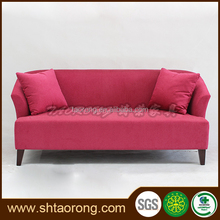 2-seater wood red fabric sofa design for living room
