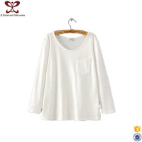 Europe Ameicia New Design White Long Sleeve Round Collar Cotton Lady Blouse