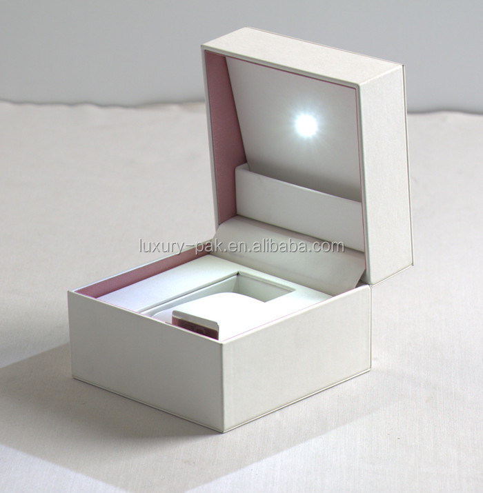 China Supplier white PU watch box Led light watch box