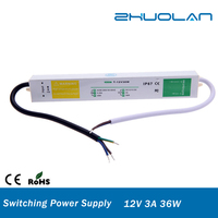 DC 36w 3A 12v constant voltage outdoor waterproof ip67 slim led switching power supply