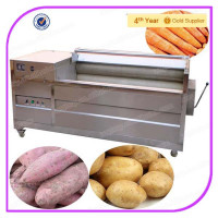 High-Efficient Industrial Sweet Potato Brush Washer, Carrot Brush Washer