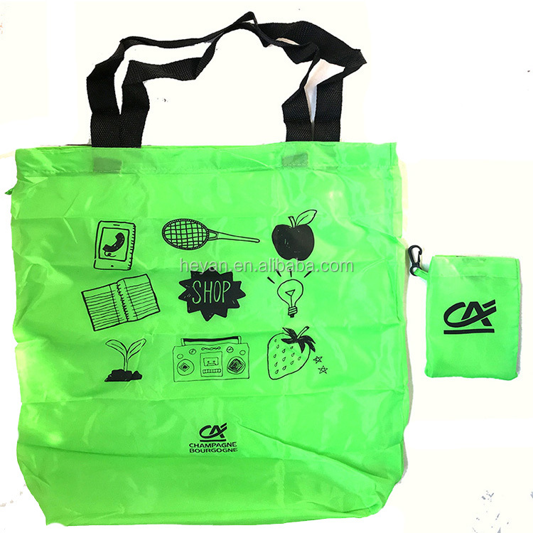 Custom Promotional 210T Polyester Foldable Grocery Shopping Bag