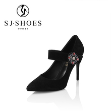 A0605 new brand black leather jeweled strappy women stylish high heel enening shoes