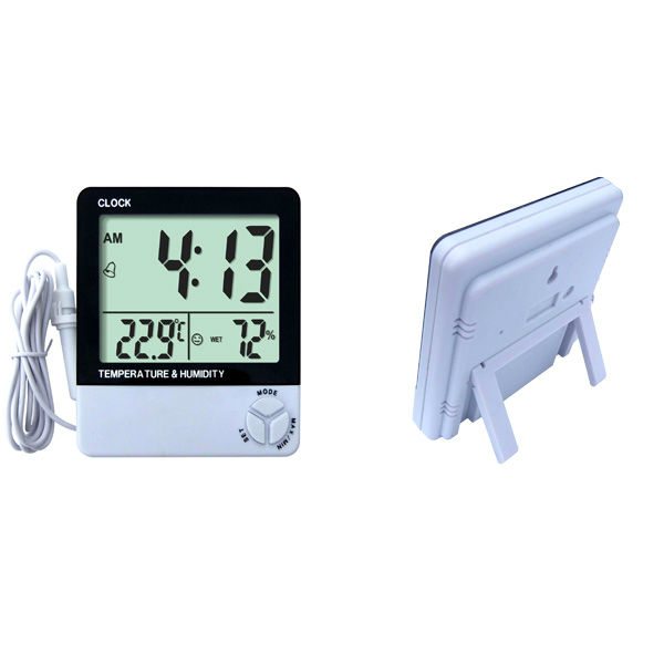 Thermometer Clock Indoor/outdoor LCD Display Humidity