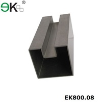 Stainless steel square single slots tube/post for glass railing