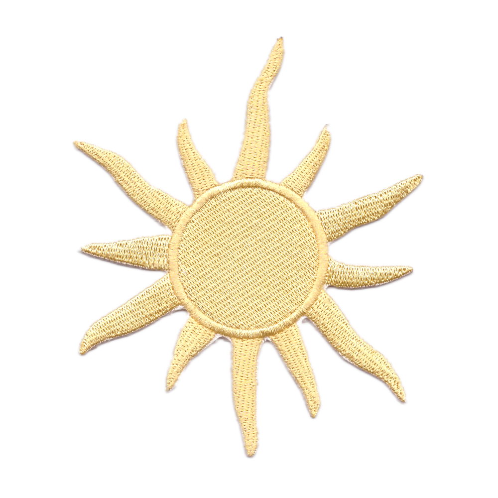 Celestial Metallic Gold Sun Flower embroidery patch