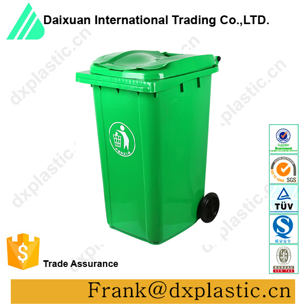 240L factory price plastic top open waste trolley bin on sale