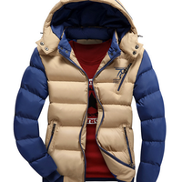 W11538G Korean men's hooded winter coat thick padded cotton jacket men's casual mixed colors coat