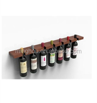 Minghou Hanging Decorative 7 Bottle Pine Timber Wall Mounted Wine Holders