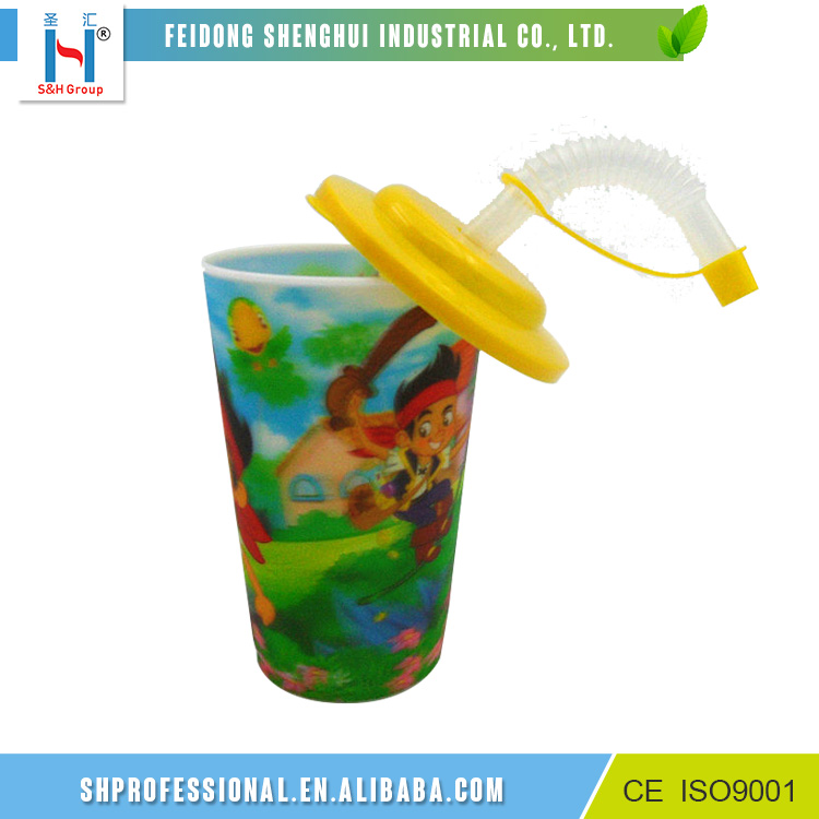 Customized Plastic Kid Drinking 3D Lenticular Cup With Straw