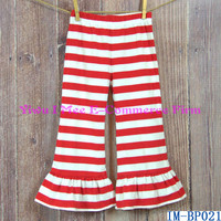 Boutique Baby Christmas Outfit Wholesale Girls Red Stripe Knit Cotton Ruffled Pants for Fall IM-BP021